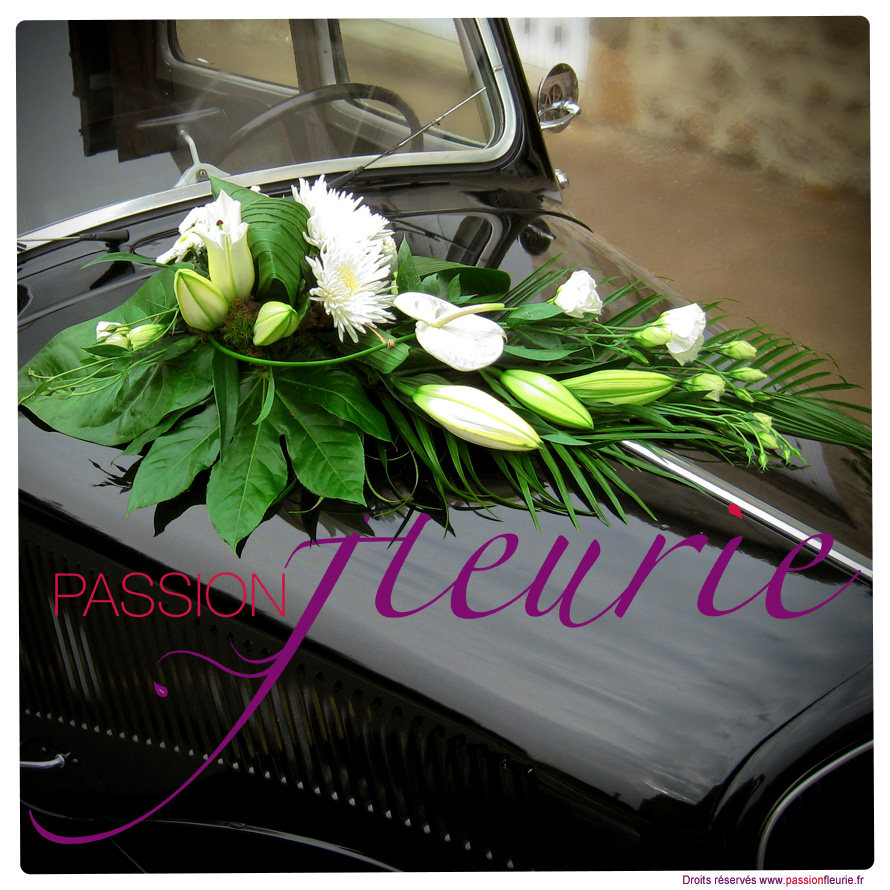 d coration florale de mariage la d coration de voiture fleuriste passion fleurie aubigny. Black Bedroom Furniture Sets. Home Design Ideas
